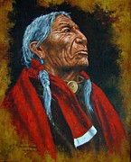 Cowboys And Indians Painting Framed Prints - Lakota Chief Framed Print by Jeroem Vogschmidt