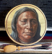 American Indian Prints - Lakota Painted Drum Print by Stu Braks