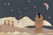 Snow Scene Drawings Prints - Lakota Woman with Winter Constellations Print by Dawn Senior-Trask