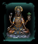 Lakshmi Framed Prints - Lakshmi Hindu Goddess Framed Print by Eva Thomas