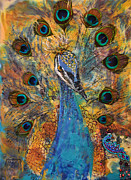 Hindu Goddess Mixed Media Metal Prints - Lakshmi Peacock Metal Print by Sally Clark