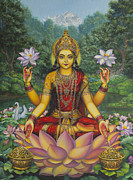 Lotus Prints - Lakshmi Print by Vrindavan Das