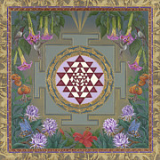 Tibetan Paintings - Lalitas Garden Sri Yantra by Nadean OBrien