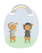 Hoodies Digital Art Prints - Lamb Carrots Cute Friends Under a Rainbow Illustration Print by Lenny Carter