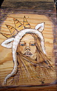 Girl Pyrography Posters - Lamb of The King Poster by Cindy Jo Burleson