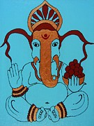 Ganapati Paintings - Lambakarna-Large Eared Ganesha by Kruti Shah