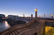 London Scenes Prints - Lambeth Bridge Thames London Print by David French