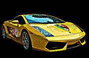 Canary Yellow Prints - Lamborghini Gallardo 3/4 front view Print by Samuel Sheats