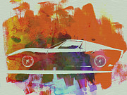 Vintage Car Drawings Prints - Lamborghini Miura Side 2 Print by Irina  March
