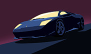 Shiny Digital Art Prints - Lamborghini Murcielago - Pop Art Print by Pixel  Chimp