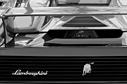 Supercar Framed Prints - Lamborghini Rear View Emblem Framed Print by Jill Reger