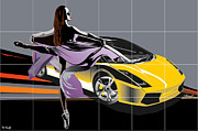 Ballet Dancers Digital Art Prints - lamborgini Ballet Print by Roby Marelly