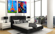 July 4th Paintings - Lamour a Paris and Lady Liberty NYC Contemporary Bedroom Showcase by Teshia Art
