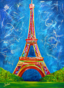 Gold Lime Green Framed Prints - Lamour a Paris Framed Print by Teshia Art