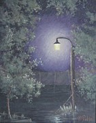 Night Lamp Paintings - Lamp in the Rain by Benjamin DeHart