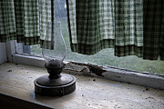 Oil Lamp Prints - Lamp in Window Print by David Arment