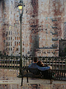 Riverwalk Prints - Lamp Post and Couple on Bench Print by Anita Burgermeister