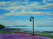 Sea Shore Pastels Prints - Lamp Post Print by Marion Derrett