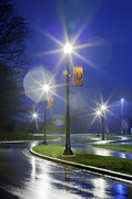 Pacers Photo Prints - Lamp Posts at Night Print by Martin Cline