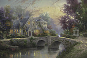 Lamplight Framed Prints - Lamplight Manor Framed Print by Thomas Kinkade