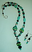 Southwestern Jewelry - Lampwork Waves and genuine Turquoise Necklace and Earring Set by Sharon Leigh