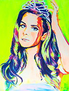 Musician Greeting Cards Paintings - Lana Del Rey 1.0 by Miss Anna Hall