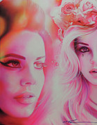 Hippy Paintings - Lana Del Rey by Christian Chapman Art