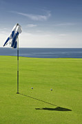 Golf Flag Prints - Lanai Hawaii Golf Landscape Print by Sheldon Kralstein