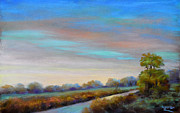 Evening Light Pastels Prints - Lancashire sky Print by Heather Harman