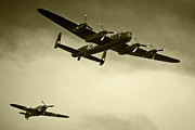 Lancaster Photos - Lancaster and the Hurricane  by Rob Hawkins