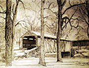 Covered Bridge Drawings Metal Prints - Lancaster Covered Bridge in Winter Metal Print by Jose A Gonzalez Jr