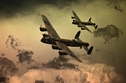 Lancaster Bomber Digital Art - Lancaster Fire In The Sky by James Biggadike