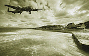 Omaha Art - Lancaster over Omaha Beach  by Rob Hawkins