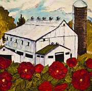Pallet Knife Prints - Lancaster Red Rose and Barn Print by Paris Wyatt Llanso