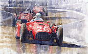 Racing Painting Framed Prints - Lancia D50 Monaco GP 1955 Framed Print by Yuriy  Shevchuk