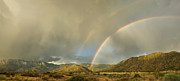 Menacing Prints - Land of Enchantment - Rainbow over Sandia Mountains Print by Matt Tilghman