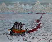 Viking Ship Paintings - Land of Ice and Snow by Suzette Kallen