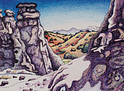 Taos Drawings Prints - Land of white rock Print by Dale Beckman
