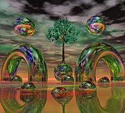 Fantasy Tree Posters - Land of World 8624036 Poster by Betsy A Cutler East Coast Barrier Islands