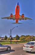 Passenger Plane Art - Landing at Midway by Jim Wright