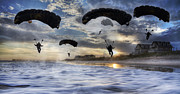 Paratrooper Photo Prints - Landing at Sunset Print by East Coast Barrier Islands Betsy A Cutler