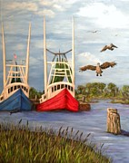 Trawler Paintings - Landing by JoAnn Wheeler