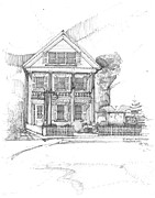 Landmark Drawings Prints - Landmark Inn and Restaurant Print by Ron Torborg