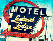 Turquoise And Red Posters - Landmark Motel Poster by Sonja Quintero