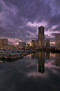 Twilight Framed Prints - Landmark Tower Framed Print by Aaron S Bedell