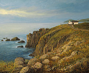 European Artwork Painting Prints - Lands End in Cornwall Print by Kiril Stanchev