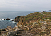 Cape Cornwall Framed Prints - Lands End The most western point of UK Framed Print by Kiril Stanchev