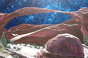 Juniper Paintings - Landscape Arch at Night by Estephy Sabin Figueroa
