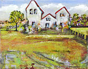 Farmhouse Paintings - Landscape Art Scenic Fields by Blenda Studio