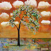 Trees Blossom Paintings - Landscape Art Scenic Tree Tangerine Sky by Blenda Tyvoll